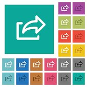 Export symbol square flat multi colored icons