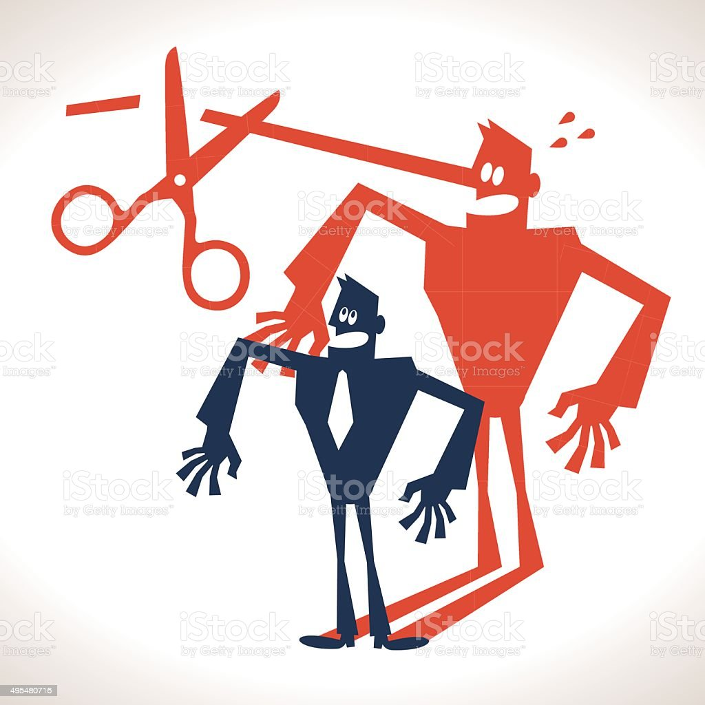 Expose Lies, Businessman with long nose shadow, scissor cutting nose vector art illustration