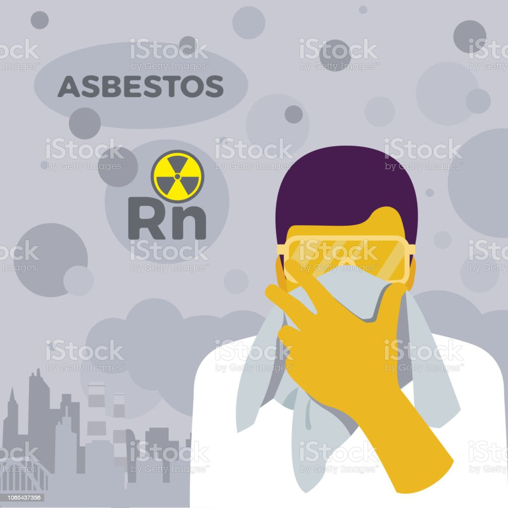 Exposure from radon gas, asbestos and air pollution. vector art illustration