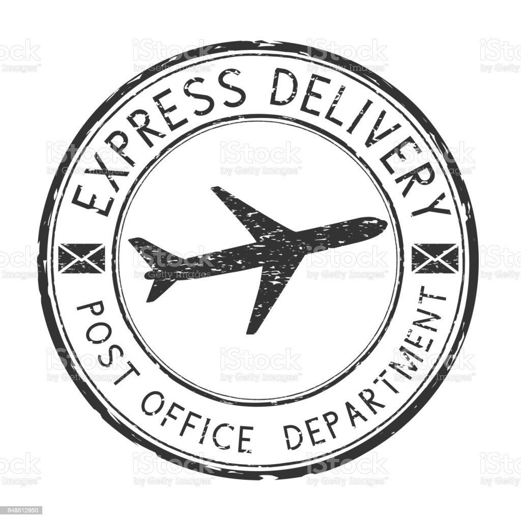 express delivery black round postmark with airplane symbol scratched R Element Symbol CafePress express delivery black round postmark with airplane symbol scratched postal element with envelope royalty
