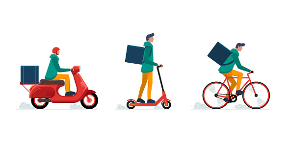 Express delivery courier service concept set. Online fast logistic male on bicycle or electric scooter moped with orders parcel box. Vector illustration
