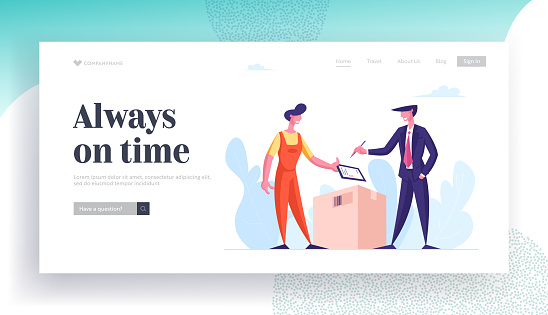Express Delivery, E- Commerce, Online Trading, Fast Internet Technology Landing Page Template. Man Courier Deliver Box Parcel to Businessman Consumer Character. Cartoon People Vector Illustration
