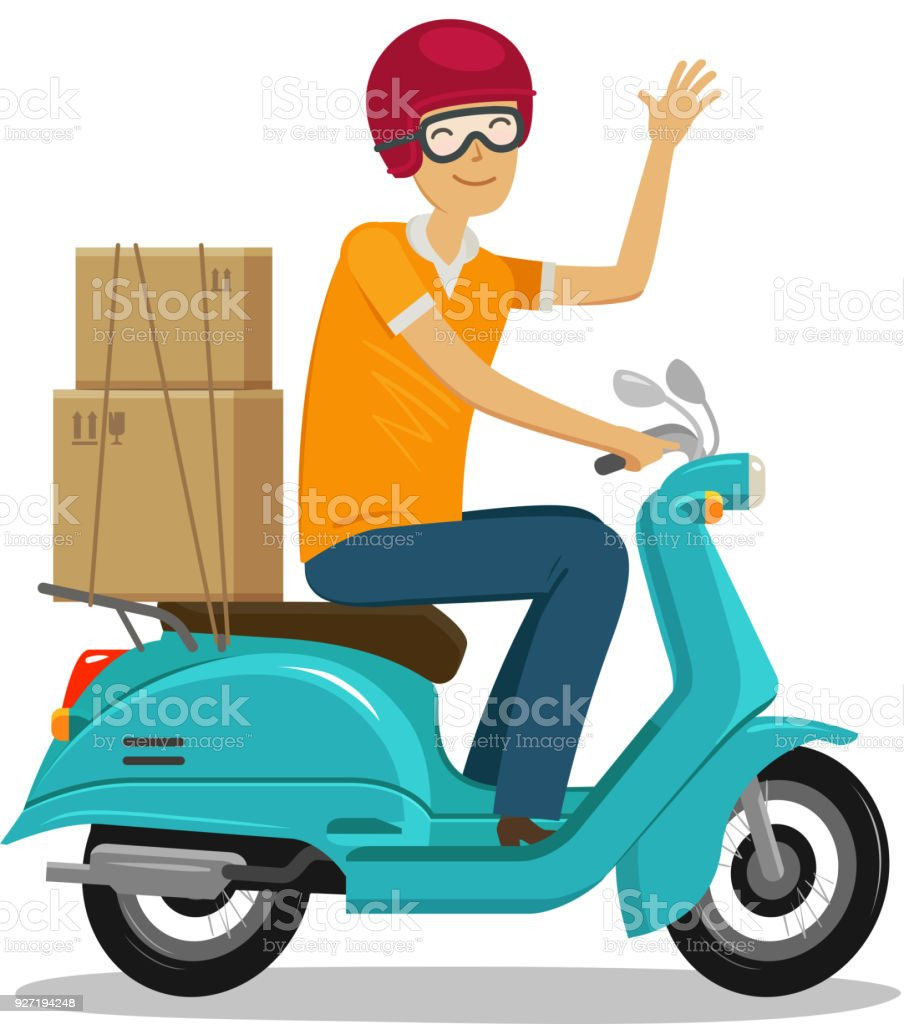 Express delivery, fast shipment concept. Happy courier rides scooter or moped. Cartoon vector illustration vector art illustration