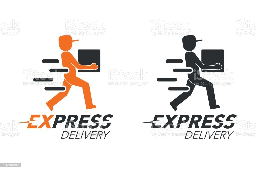 Express Delivery Icon Concept Delivery Man Service Order ...
