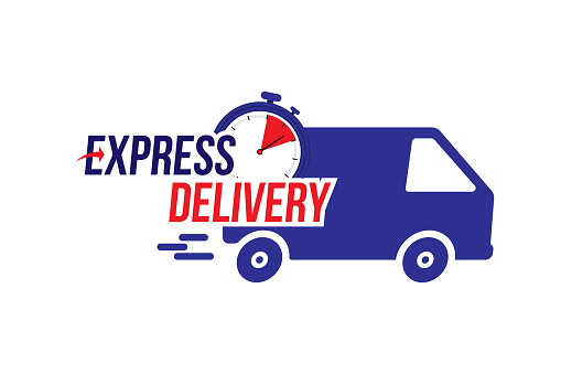Express delivery icon. Fast shipping with truck timer with inscription on white background. Flat vector illustration EPS10