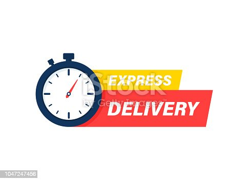 Express delivery icon. Timer and express delivery inscription vector illustration isolated on white background