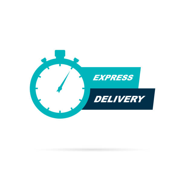 Express delivery icon Express delivery icon with stopwatch. Vector eps10 instrument of time stock illustrations