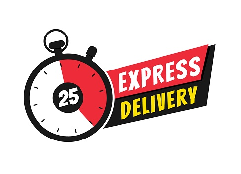 Express delivery icon with stopwatch for websites and apps.