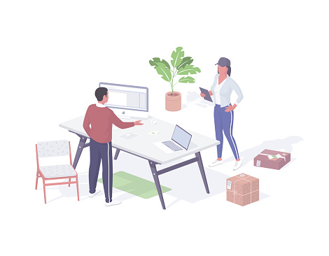 Express delivery parcels to office isometric illustration. Female character courier stands with invoice and boxes.