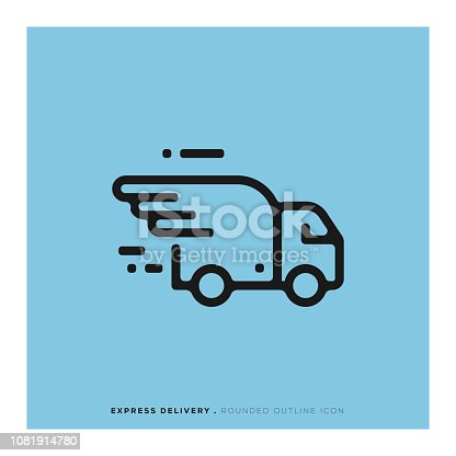 istock Express Delivery Rounded Line Icon 1081914780