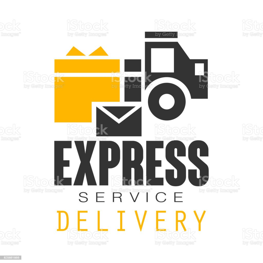 Express Delivery Service Design Template Black And Yellow Vector ...