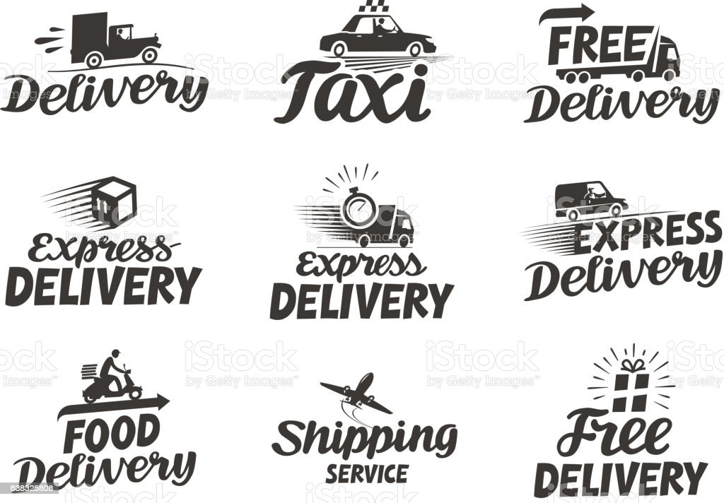 express delivery service logo vector icon or symbol stock