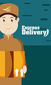 Express delivery courier cartoons vector illustration graphic design