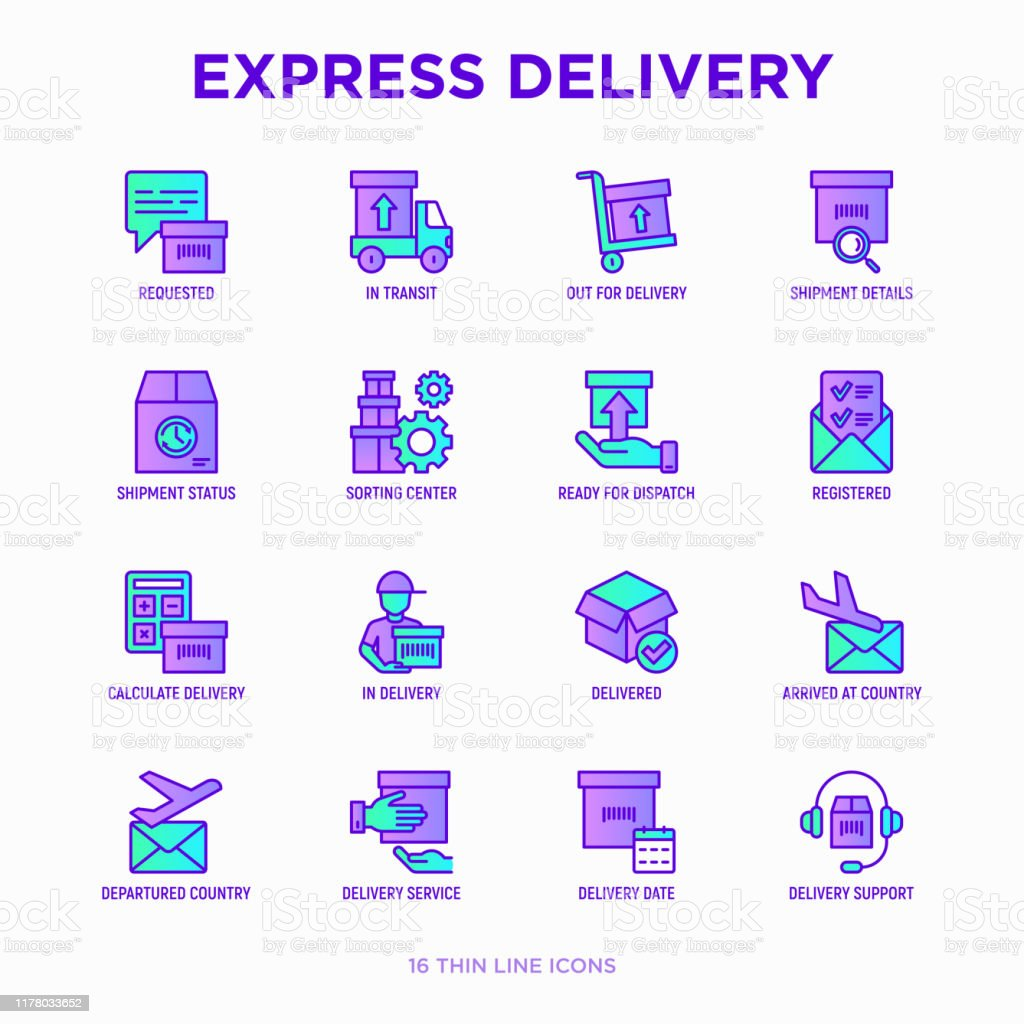 Express Delivery Thin Line Icons Set Parcel Truck Out For Delivery Searching Of Shipment Courier Sorting Center Dispatch Registered Delivered Modern Vector Illustration Stock Illustration Download Image Now Istock