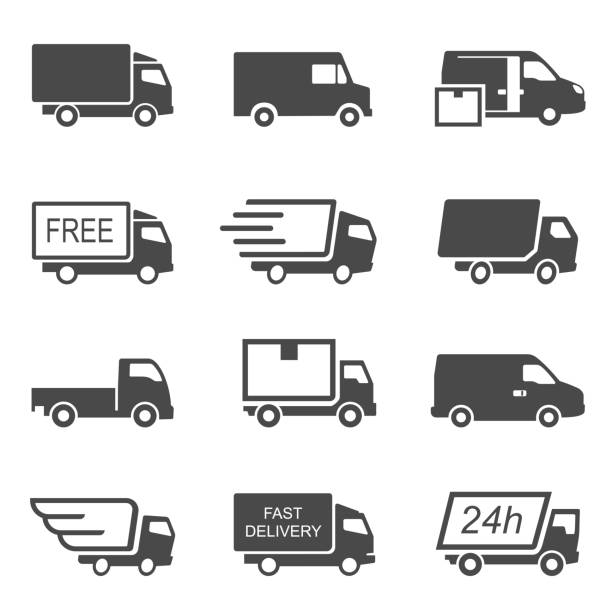 Express delivery trucks vector glyph icons set vector art illustration