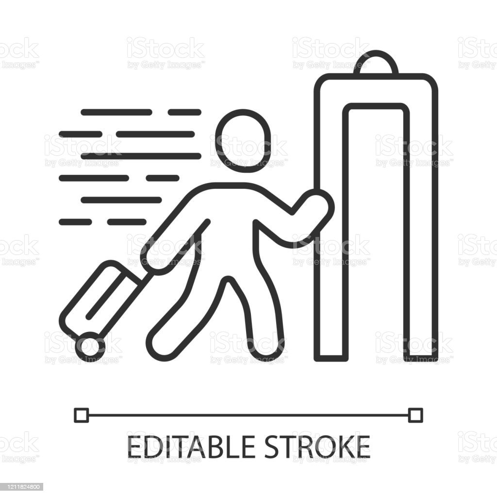 Express Entry Linear Icon Passenger Passing Xray Check At Airport Body Scan Machine Customs Inspection Thin Line Illustration Contour Symbol Vector Isolated Outline Drawing Editable Stroke Stock Illustration Download Image Now