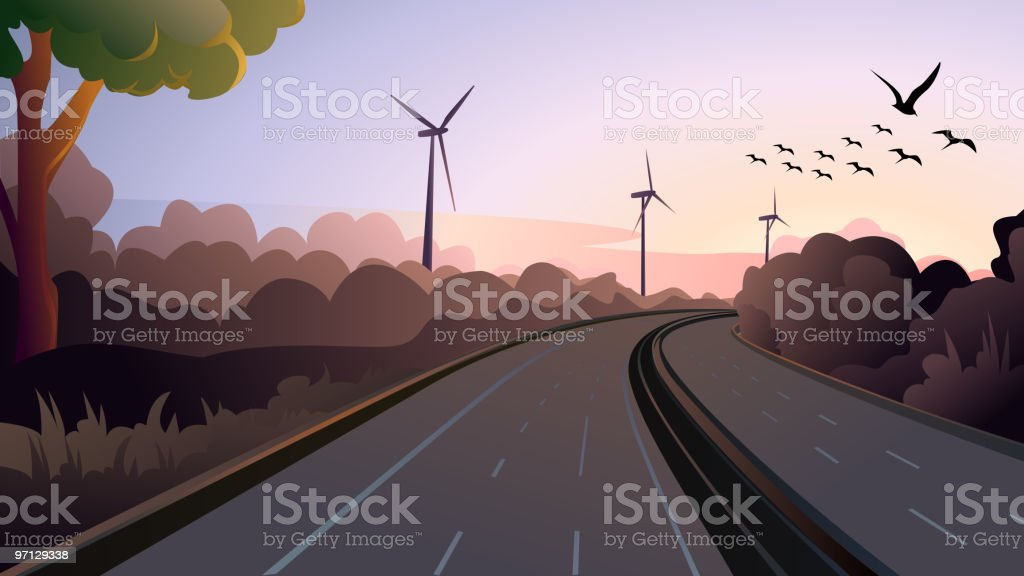 Express Highway at Evening royalty-free stock vector art