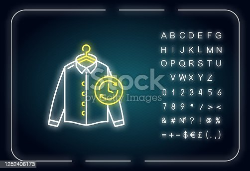 Express laundry neon light icon. Clothes quick washing, dry cleaning service. Fast launderette. Outer glowing effect. Sign with alphabet, numbers and symbols. Vector isolated RGB color illustration