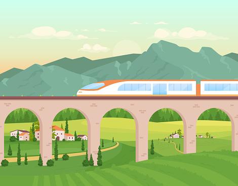 Express train flat color vector illustration