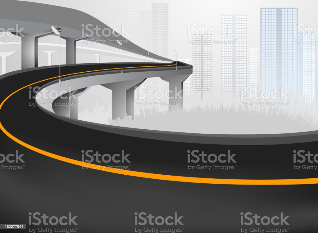 Express way into city royalty-free stock vector art