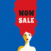 WOW expression concept. Shocked young woman face. Design idea for price discount advertisement. Surprised girl in pop art retro style on white background. Wow sale text. Vector vintage illustration