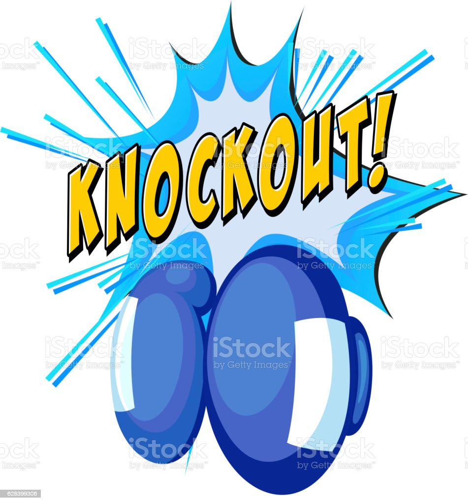 Expression knockout and boxing gloves vector art illustration