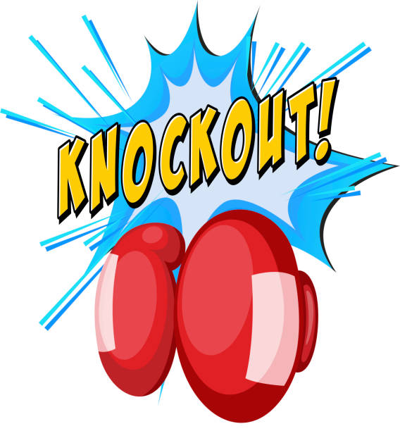 stockillustraties, clipart, cartoons en iconen met expressie knock-out en bokshandschoenen - knock out