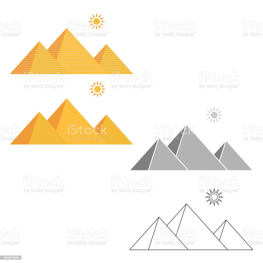 Expression of the Egyptian pyramids of Giza, desert landscape vector art illustration