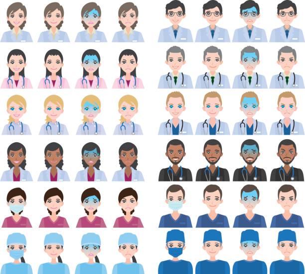 ilustrações, clipart, desenhos animados e ícones de expressão do rosto da pessoa - enfermeira