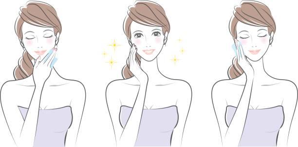 ilustrações, clipart, desenhos animados e ícones de expressão da mulher / cuidados com a pele - tratamentos de beleza