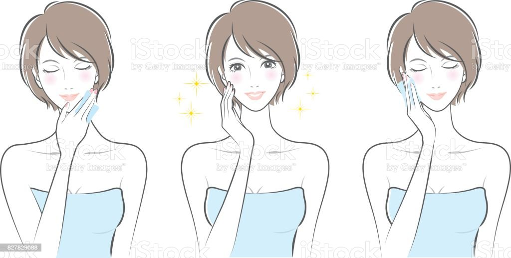 Expression of the woman / Skin care vector art illustration