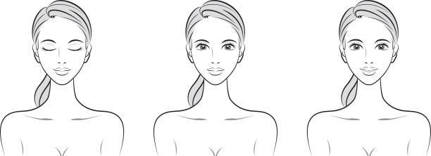 Expression of the woman Women's beauty beautiful woman stock illustrations