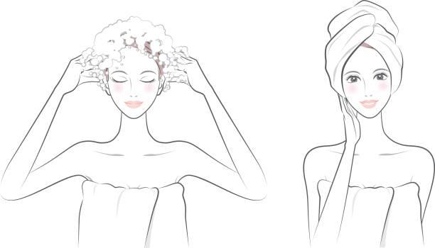 se laver les cheveux vectoriels et illustrations libres de droits istock
