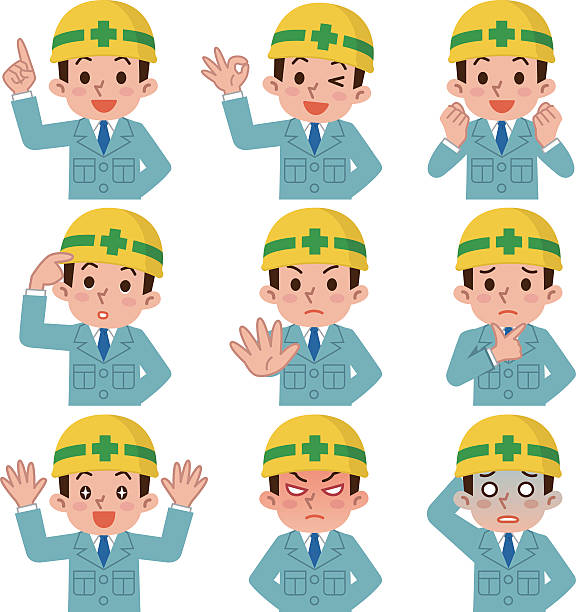 expression set of young men who suffered a helmet - 建設作業員点のイラスト素材/クリップアート素材/マンガ素材/アイコン素材