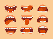 Expressive cartoon human mouth with tongue and teeth. Vector set for making character faces