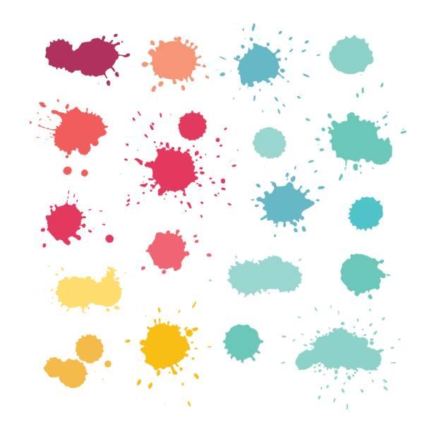 wyraziste rozpryski akwareli, wektor - farba stock illustrations