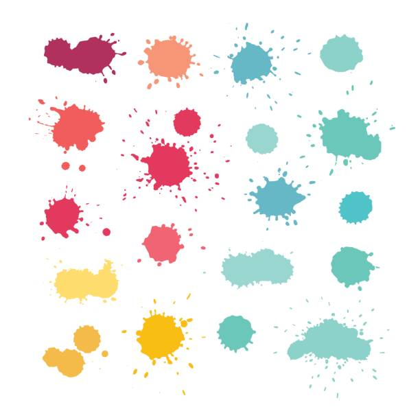 Expressive watercolor splashes, vector Expressive watercolor splashes. Stain vector collection, blue yellow pink purple red colors splattered stock illustrations