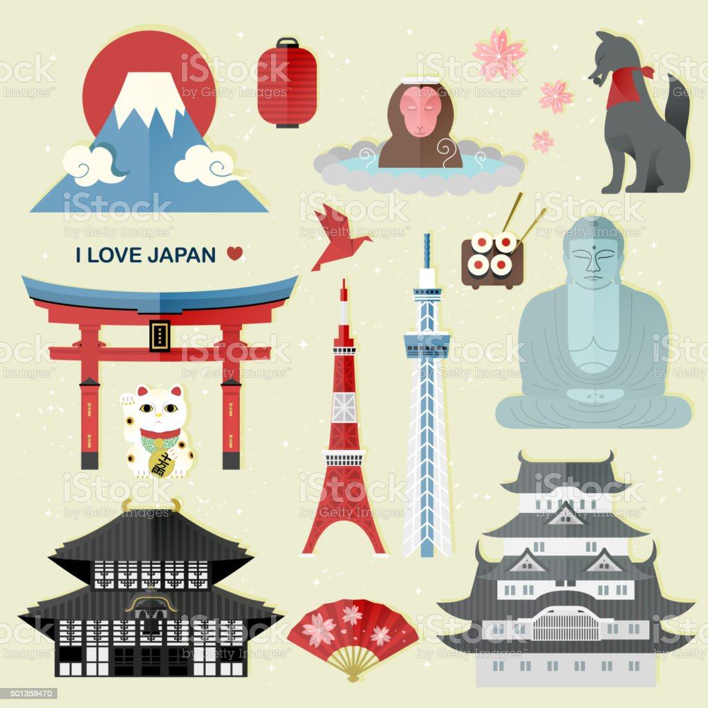 exquisite Japan travel collections set vector art illustration