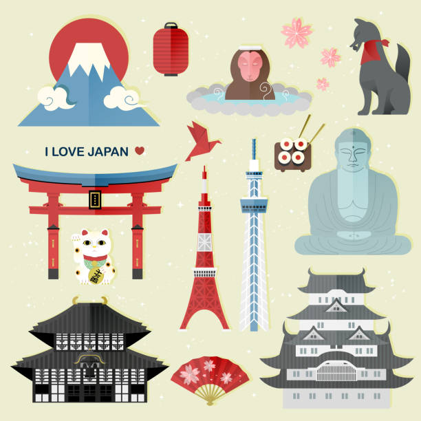 exquisite Japan travel collections set exquisite Japan travel collections set - Money in Japanese words on lucky cat tokyo stock illustrations