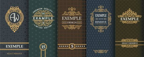 exquisite set of design templates for label and package of whiskey - alcohol drink patterns stock illustrations