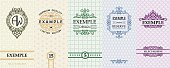 Exquisite set of design templates for label and package of Whiskey, wine, rum, liqueurs, vodka