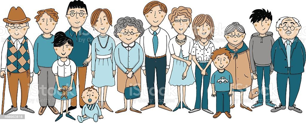 Großfamilie vector art illustration