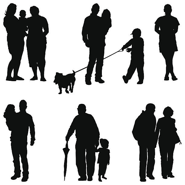 Extended Family vector art illustration