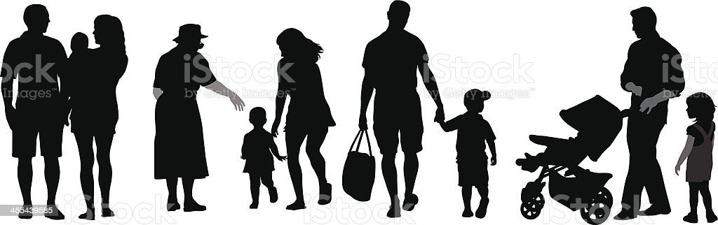 Extended Family Vector Silhouette royalty-free stock vector art