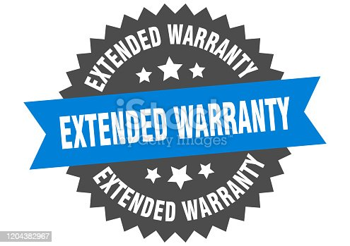 extended warranty sign. extended warranty blue-black circular band label