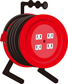 Illustration of extension cord reel for construction