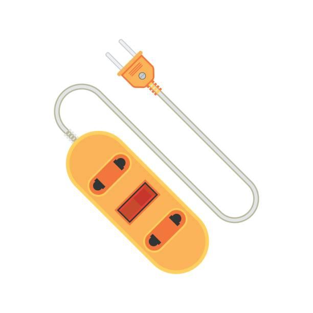 illustrations, cliparts, dessins animés et icônes de extension de la rallonge / icône de plomb. illustration de vecteur plat - rallonge électrique
