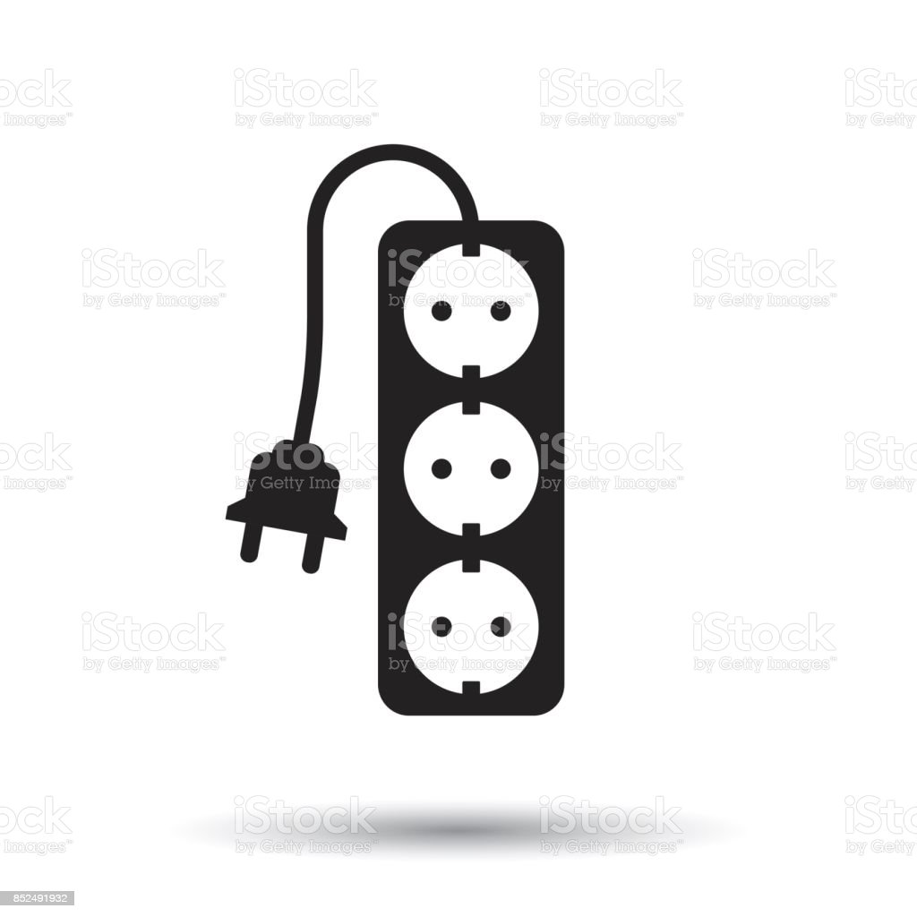 Extension cord vector icon. Electric power socket flat illustration on white background. vector art illustration