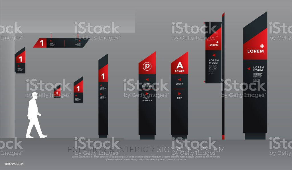 Exterior And Interior Signage Concept Direction Pole Wall