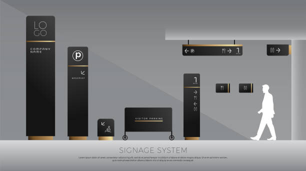 exterior and interior signage concept. direction, pole, wall mount and traffic signage system design template set. empty space for logo, text, black and gold corporate identity exterior and interior signage concept. direction, pole, wall mount and traffic signage system design template set. empty space for logo, text, black and gold corporate identity airport borders stock illustrations